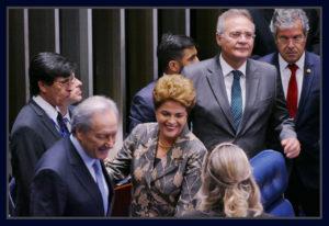 Dilma Rousseff, Ricardo Lewandowski, Renan Calheiros e Jorge Viana.